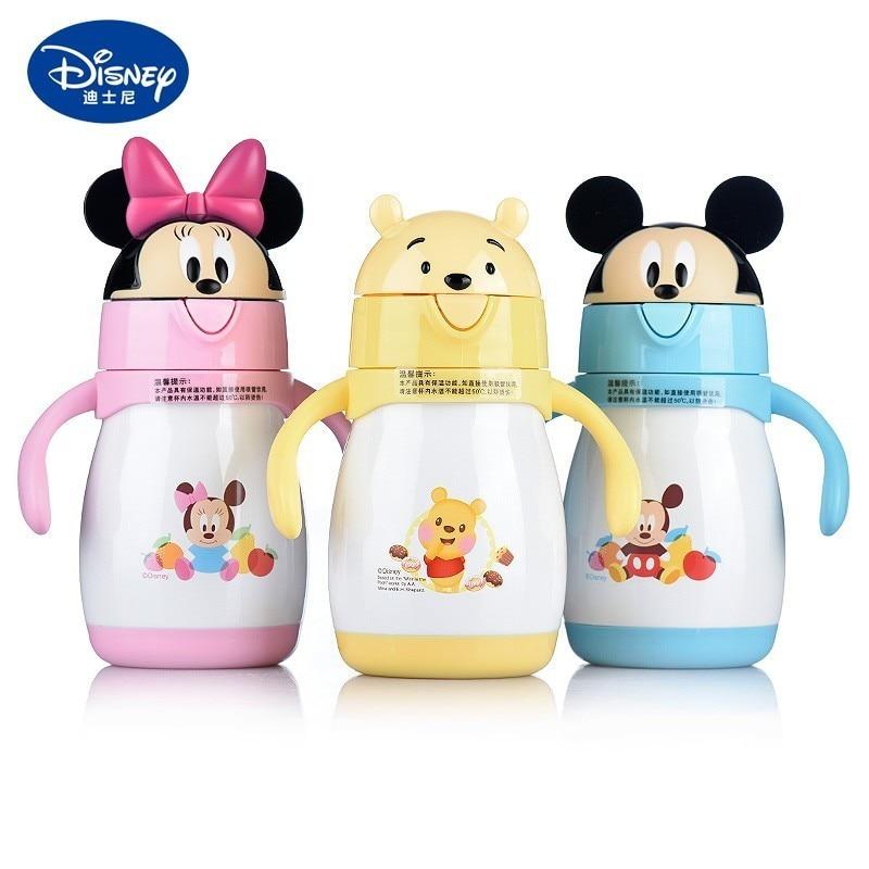 Disney 240ml Cute Minnie Mickey Baby Feeding Cup With Straw Children Learn Feeding Drinking Bottle With Handle Kids Training Cup