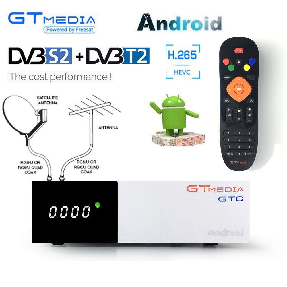 Gtmedia GTC <font><b>DVB</b></font>-<font><b>T2</b></font> ISDB-T Bluetooth Wifi Youtube <font><b>DVB</b></font>-<font><b>S2</b></font> Satellite <font><b>tv</b></font> receiver Cline BissVU Cable 4K <font><b>Android</b></font> Digital Smart <font><b>tv</b></font> <font><b>box</b></font> image