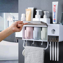 Cepillo de dientes titular dispensador automático de pasta de dientes/exprimidor/extrusora a prueba de polvo accesorios de baño conjunto de cepillo de dientes organizador