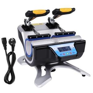 220V Automatic Double Stations Mug Heat Press Sublimation Transfer Printing Machine Double Mug Cup 2pcs Heat pad