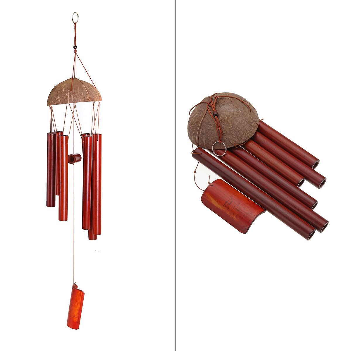 Деревенский натурального бамбука 6 трубка кокосовых волокон кулон церковный колокол Двор Сад улица дома живет Wind Chime декора ручной работы