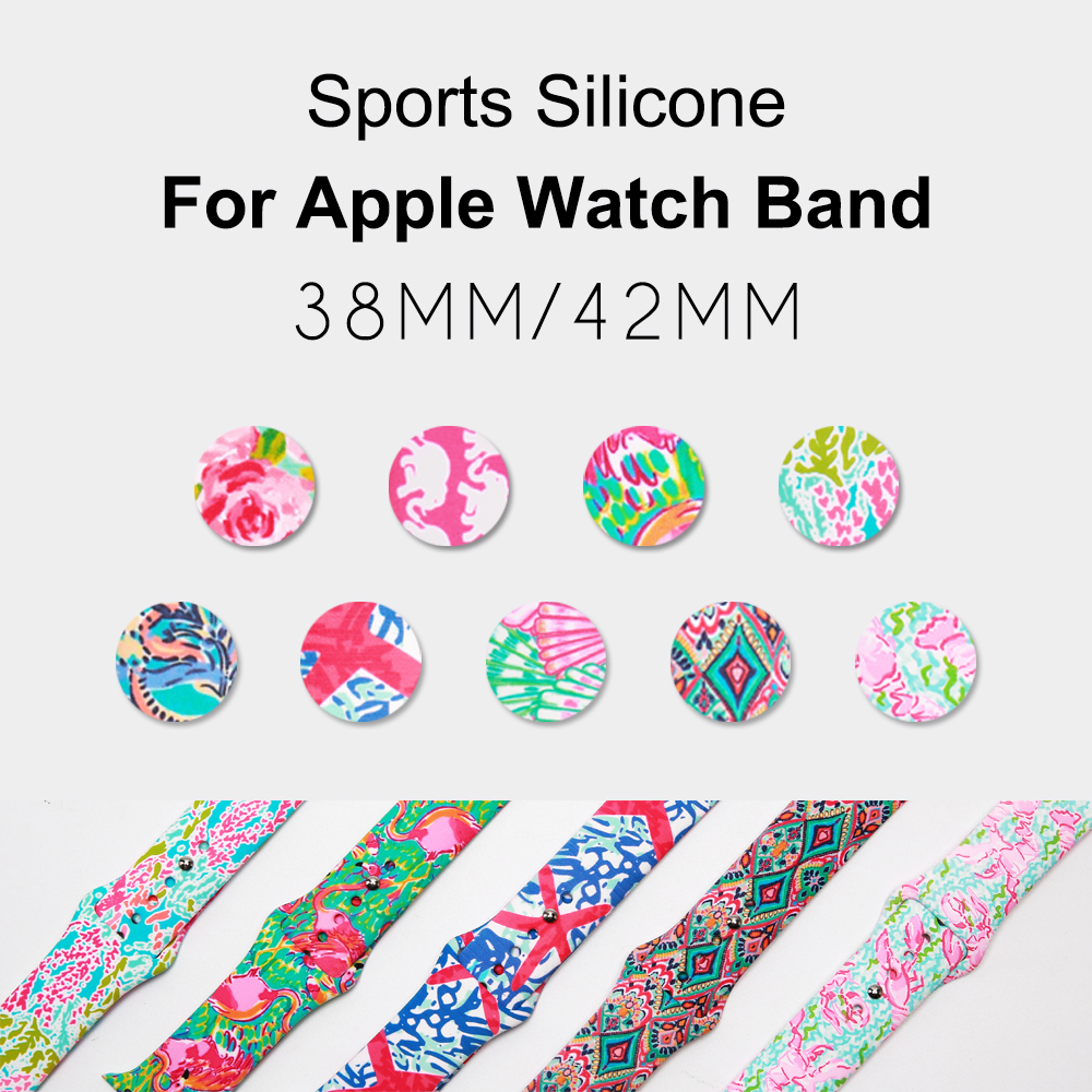 lilly Flamingo flowers print Silicone Replacement Sport Band For Apple Watch Series123 38mm 42mm Strap For iWatch Sports Editionlilly Flamingo flowers print Silicone Replacement Sport Band For Apple Watch Series123 38mm 42mm Strap For iWatch Sports Edition