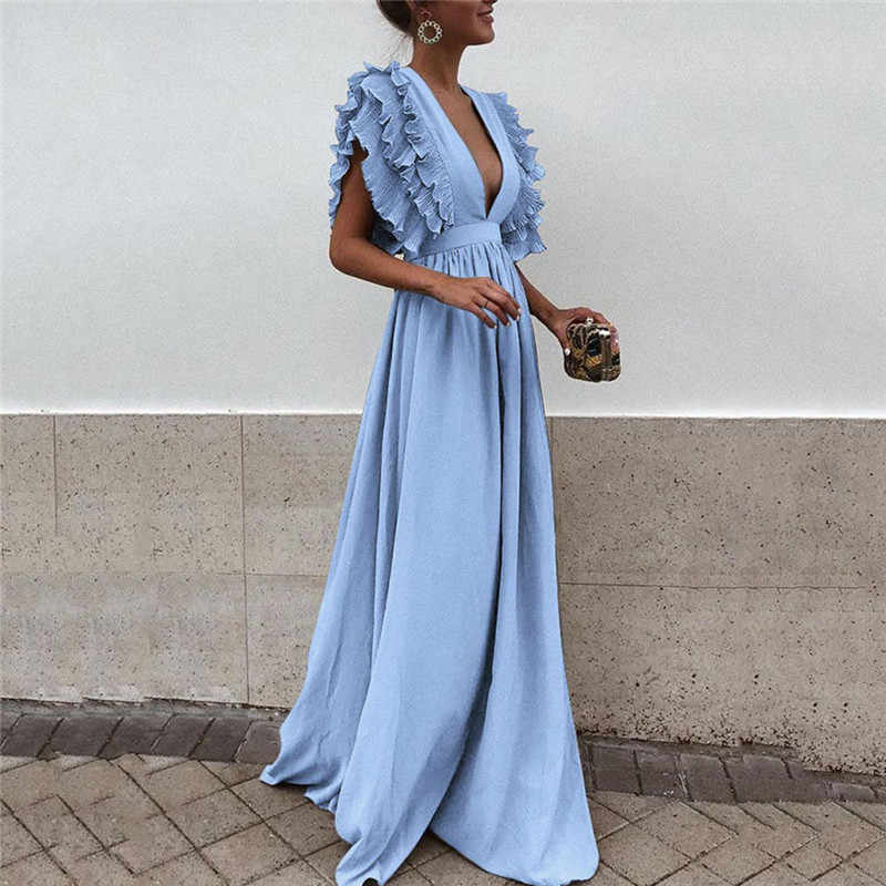 2f42a1a44bc ... Women s Ruffles Flying Sleeve Party Long Dress Solid Color Formal Lady Deep  V Neck High Waist ...