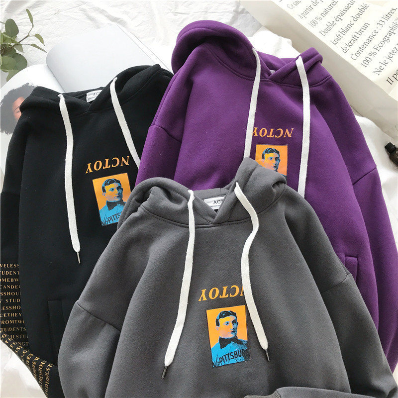 2018 Autumn And Winter New Pattern Student Pullover Male Thickening Down Even Hat Loose Coat tops ins limited Casual streetwear