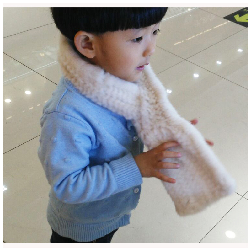 New Children Warm Mink Fur Scarf Spring Winter Thick Knitted Fur Scarves Girls Boys Fashion Scarf Holiday Gift Hat S#15