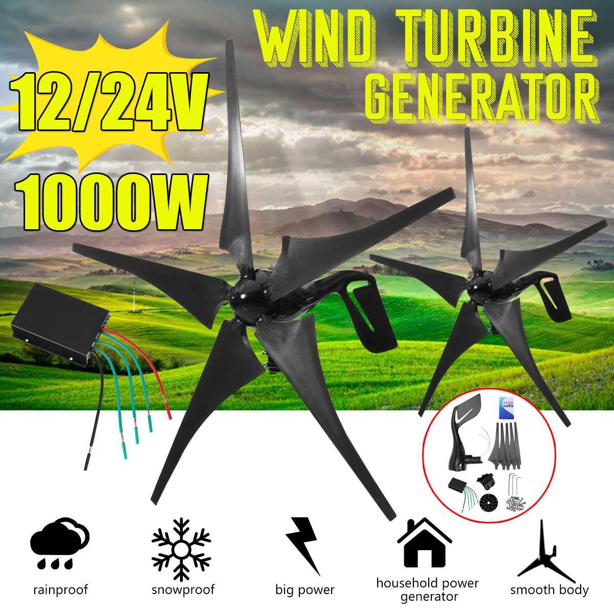 1000 W 12 V 24 V 5 Fibra de Nylon Lâmina Horizontal Casa Moinho de Vento Gerador de Energia de Turbinas Eólicas Turbinas De Energia de Carga com o Controlador