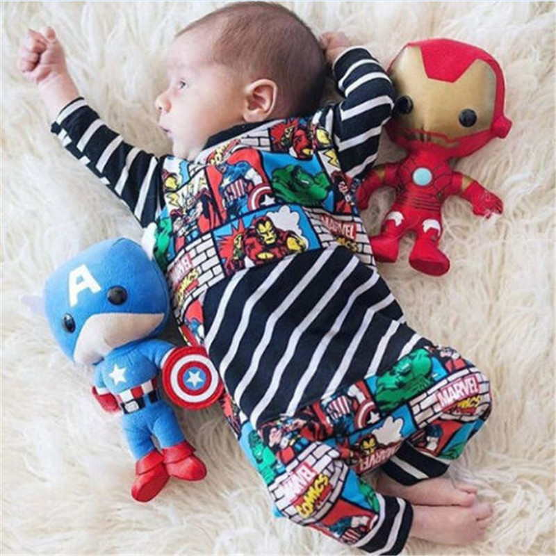 Newborn Infant Baby Kids Boy Outfit Clothes Cartoon Anime Romper Long Sleeve O Neck Jumpsuit Baby Boy Cotton Clothes Wholesale