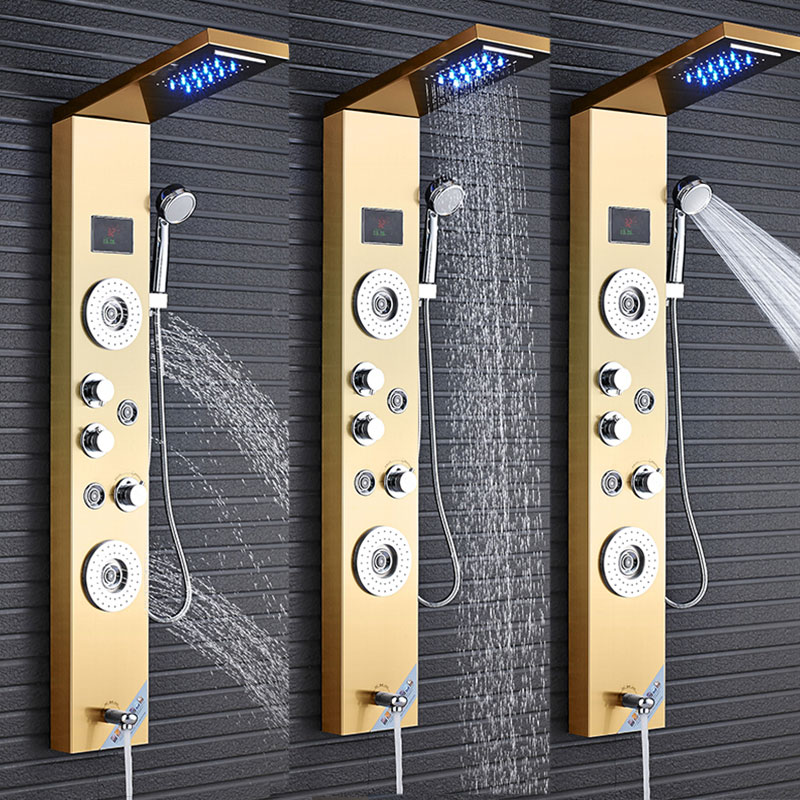 все цены на LED Waterfall Faucet Mixer Valve Shower Set with Rainfall Hand Shower Panel Shower Time Temperature Display SPA Jets Bathroom онлайн
