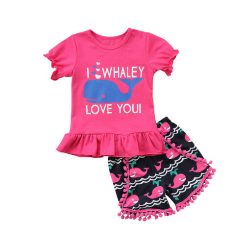 Fashion Baby Girl Kids Animal Top T-shirt Shorts Outfits Set Clothes Summer 1-6T