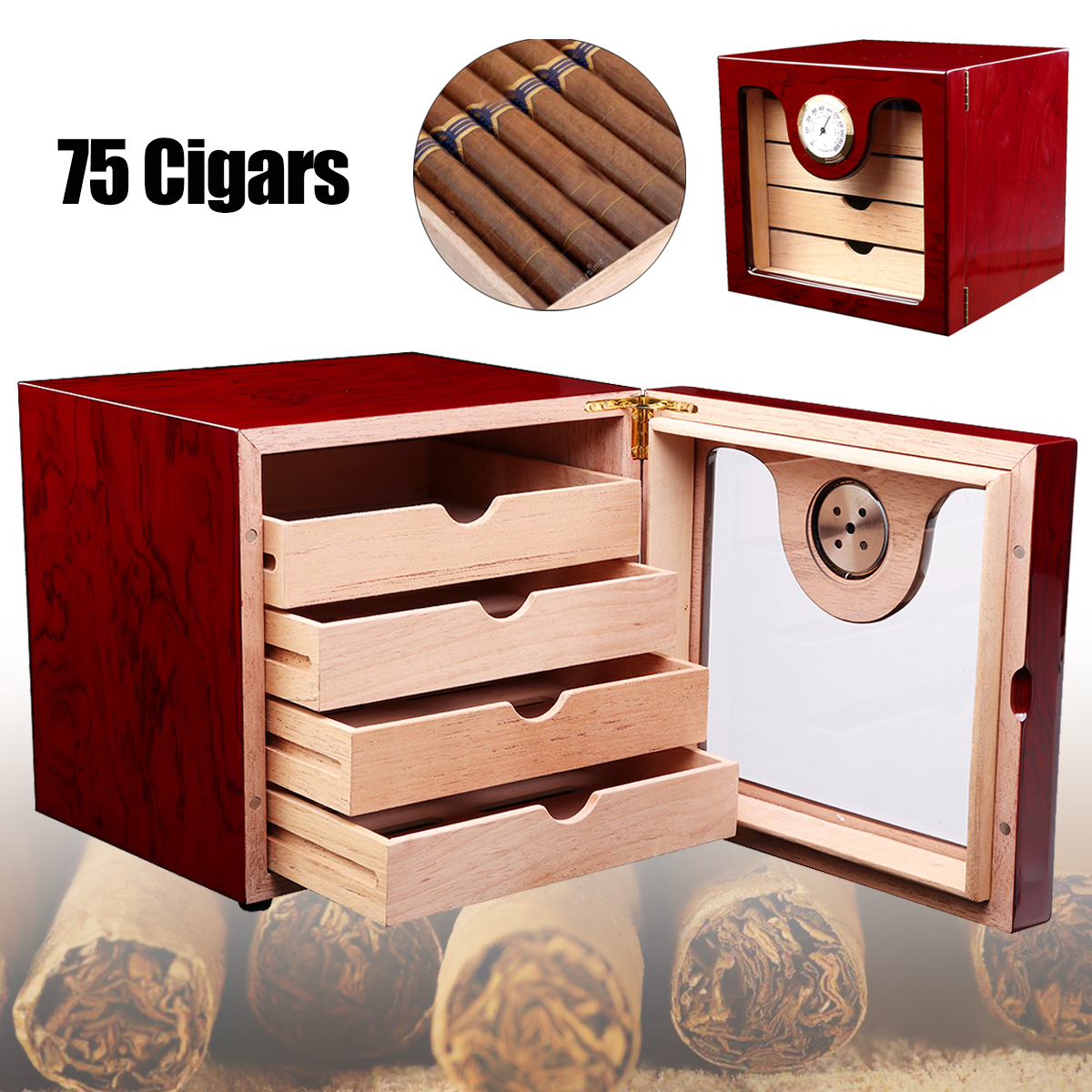 Portable Brown Cedar Wood Cigar Humidor Case With Humidifier Hygrometer Cigar Storage Box Holds up to