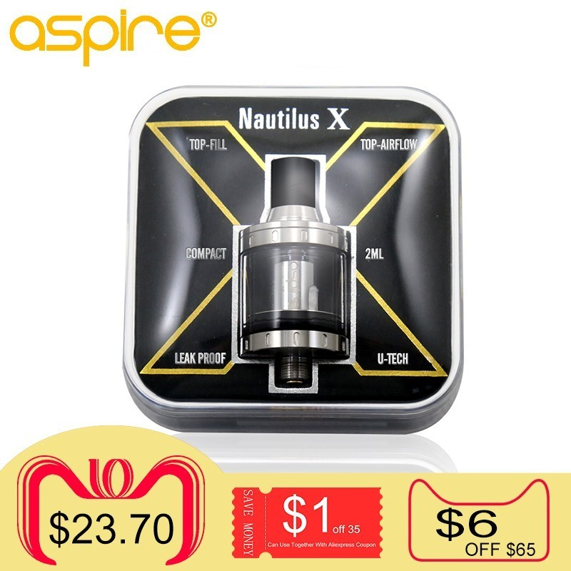 все цены на Electronic Cigarette Vaporizer Aspire Nautilus X 510 Thread 2ML Capacity Vape Atomizer MTL Tank Use 1.5 1.8ohm Replaceable Coils онлайн