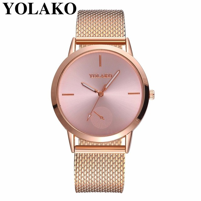 Best Selling Fashion Women Rose Gold Plastic Leather Quartz Watch Luxury YOLAKO