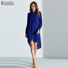 ZANZEA 2019 Spring Women Shirt Dress Casual Bow Neck Vetisdos Long Sleeve Irregular Short Vestido Beach Party Robe Plus Size