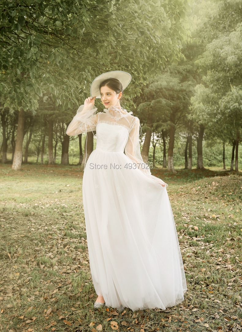 High Neck Tulle Outdoor Photography Bride Bohemian Chic Ancient Vintage Floor Length Ball Gown Evening Dress