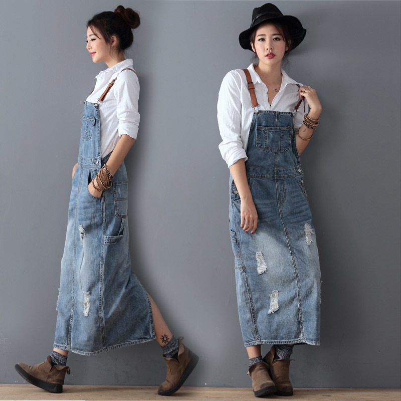#2702 Summer Maxi Denim Dress Women Vintage Holes Jeans Dresses Female Loose Plus Size Bib Blue Jeans Long Dress Ladies XS-3XL