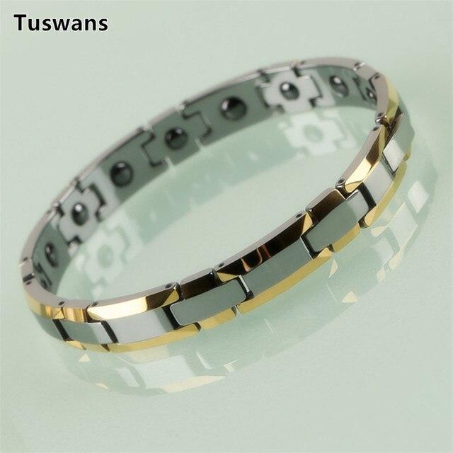 عشاق حساسة نمط الذهب اللون H شكل التنغستن أساور مع العلاج المغناطيسي المغناطيس عشاق الهدايا (TSWB20)