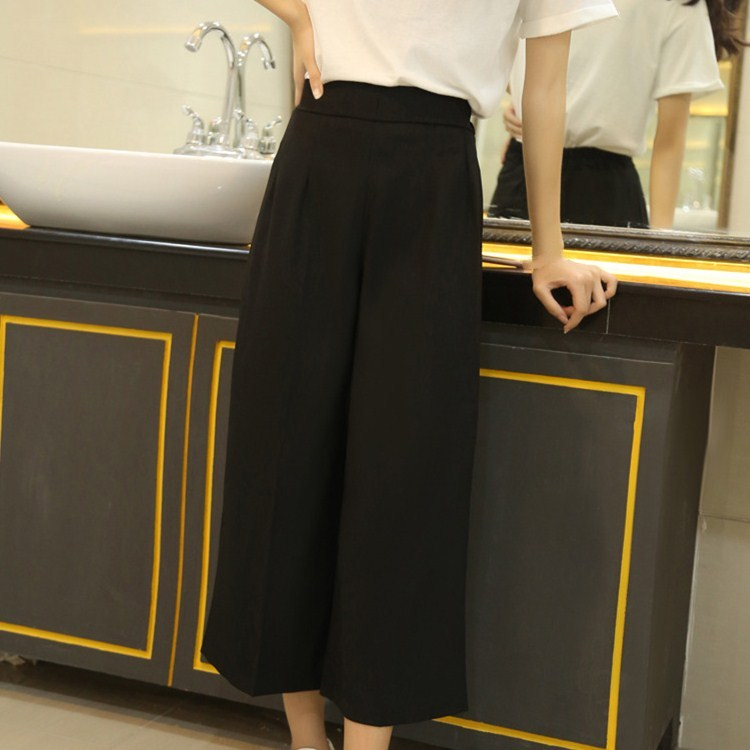 New Arrival Female Casual Black Wide Leg   Pants   Spring Summer High Waist Simple Loose   Pants
