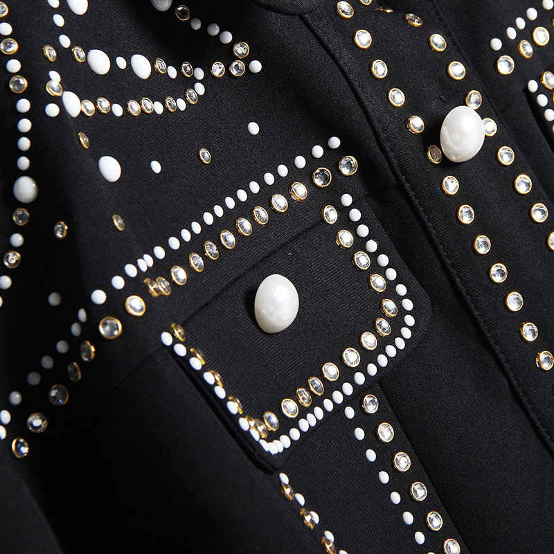 [EAM]2019 Spring Woman Handsome Black Turn-down Collar Spliced Rivet Diamonds Sequins Long Sleeve Loose Coat Jacket LD557