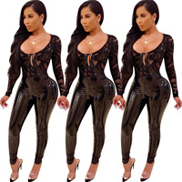 Black lace patchwork PU leather bodysuit rompers womens jumpsuit sexy transparent one piece body woman playsuits long sleeve