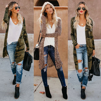 bbb162444367 Moda mujer leopardo Kimono Cardigan abierto frontal abrigo Camo ...