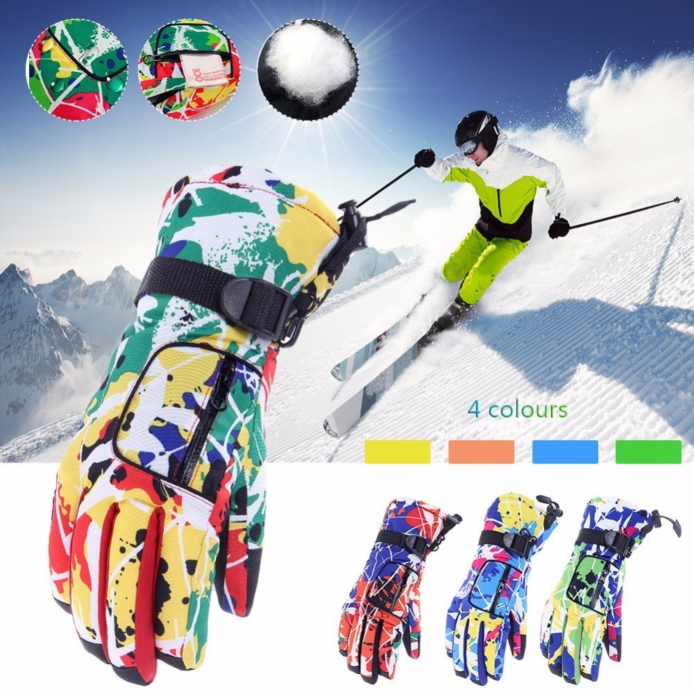 Outdoor Sports Colorful Ski Gloves Men & Women Waterproof Winter Cycling Skiing Snowboard Gloves Thickening Riding Gloves