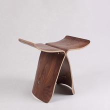 Nasida Северная Европа деревянный пуфик обувь стул сори Янаги стиль стул с бабочками оригинальность бытовой многоцветные низкий стул