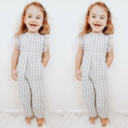 Hot Adorable Toddler Kid Baby Girl Plaid   Romper   One-Piece Pullover Jumpsuit Playsuit Sunsuit Clothes