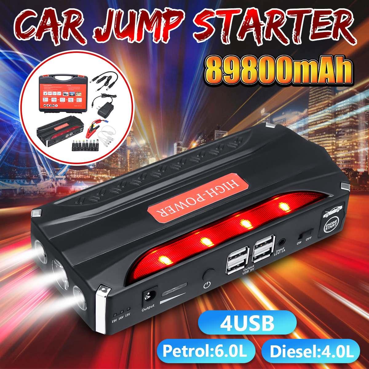 89800 mAh voiture saut démarreur batterie externe 800A Portable 4USB voiture batterie Booster chargeur 12 V démarrage dispositif essence Diesels
