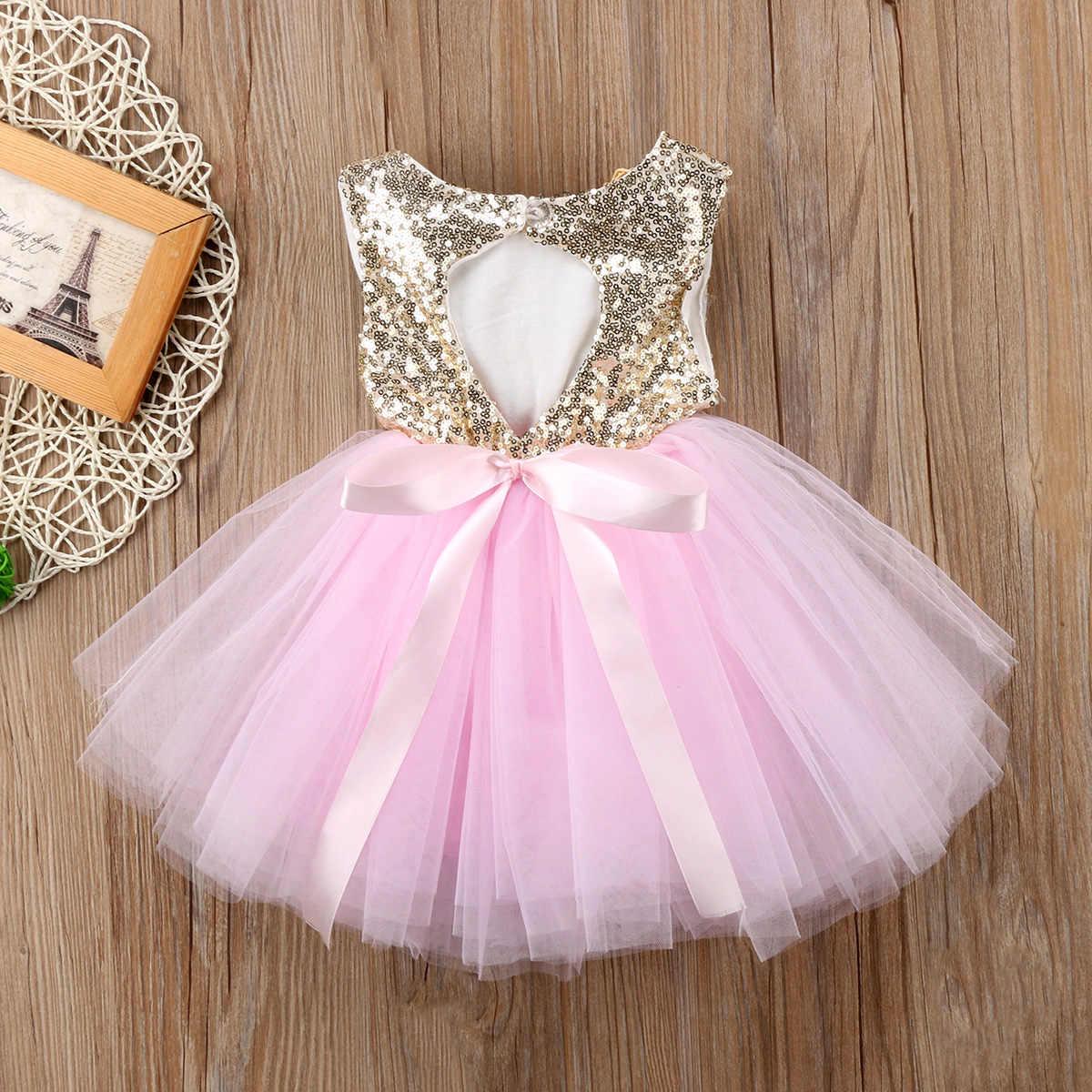 Princesa niños vestido de bebé para niñas vestido de boda elegante sin mangas lentejuelas fiesta cumpleaños bautismo vestido para niña vestidos de verano