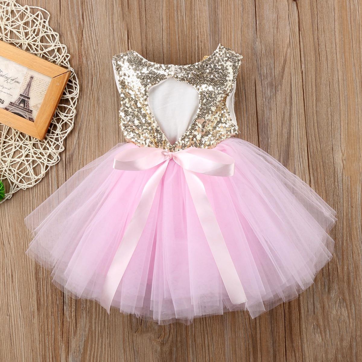 Prenses çocuk bebek elbise kızlar için fantezi düğün elbisesi kolsuz Sequins parti doğum günü vaftiz elbise kız yaz elbiseler