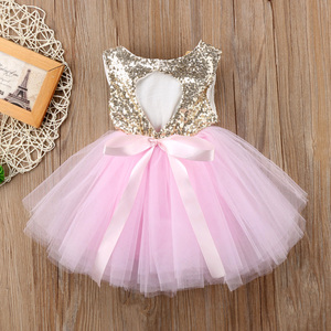 Princess Kids Baby Dress For Girls Fancy Wedding Dress Sleeveless Sequins Party Birthday Baptism Dress For Girl Summer Dresses(China)