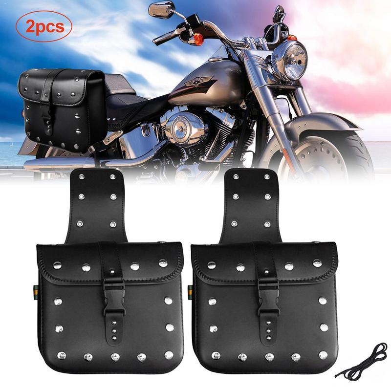 2 Pcs PU Motorcycle Saddle Bag Set Wear-Resistant Waterproof Side Bag Toolkit Motorcycle Side Bag Universal Motorbike Supplies
