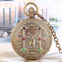 Luxury Pure Copper Roman Numerals Self Winding Mechanical Pocket Watch Elk Deer Crystal Double Hunters Tourbillon Pendant Clock