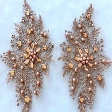 Champagne Embroidery Hot Drill Applique Exterior Decor Apparel Patches Flower Patch Decoration Accessories