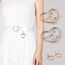 DIY Round Square Heart Belt Buckle Pin Metal Women Strap Waist Resin Transparent Long Silver Gold Color