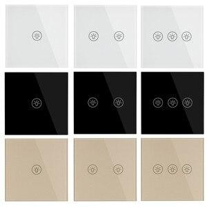 Image 1 - Interruptor de toque de parede ligh padrão ue, interruptores de sensor de energia branco preto, ouro, vidro de cristal 1 2 3 gang 1 way do makerele