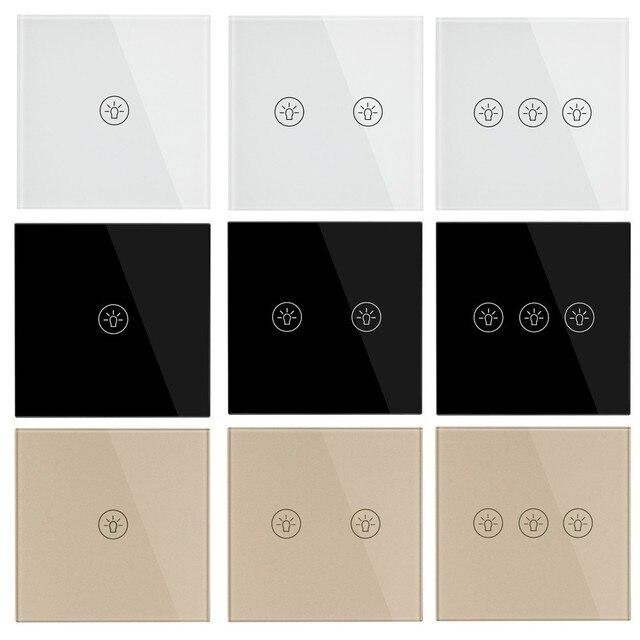 Interruptor de toque de parede ligh padrão ue, interruptores de sensor de energia branco preto, ouro, vidro de cristal 1 2 3 gang 1 way do makerele