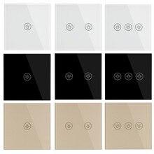 האיחוד האירופי סטנדרטי Ligh קיר מגע מתג כוח חיישן מתגי לבן שחור זהב קריסטל זכוכית 1 2 3 כנופיית 1 דרך מפני Makerele