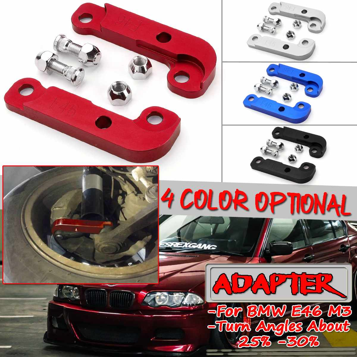 Adapter Increasing Turn Angles 25/% For BMW E46 M3 Tuning Drift Power  Racing Car