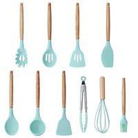 SNNY 9 Pieces Cooking Tools Set Silicone Kitchen Cooking Utensils Set With Bamboo Holder Turner Tong Spatula Spoon Set