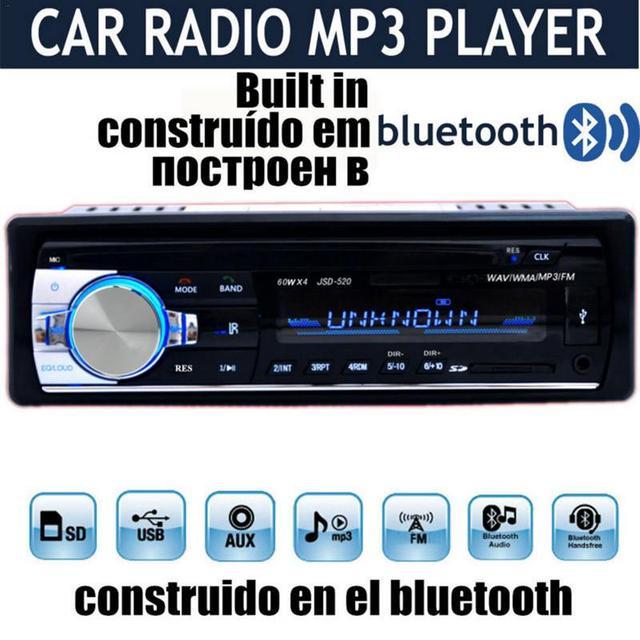 Professional รถวิทยุสเตอริโอบลูทูธโทรศัพท์ AUX IN MP3 FM USB 1 Din รีโมทคอนโทรล 12 โวลต์รถเสียง DVD