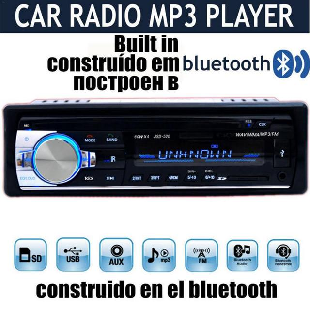 Professional Car Radio Stereo Player Bluetooth Phone AUX IN MP3 FM USB 1 Din Remote Control 12V Car Audio DVD