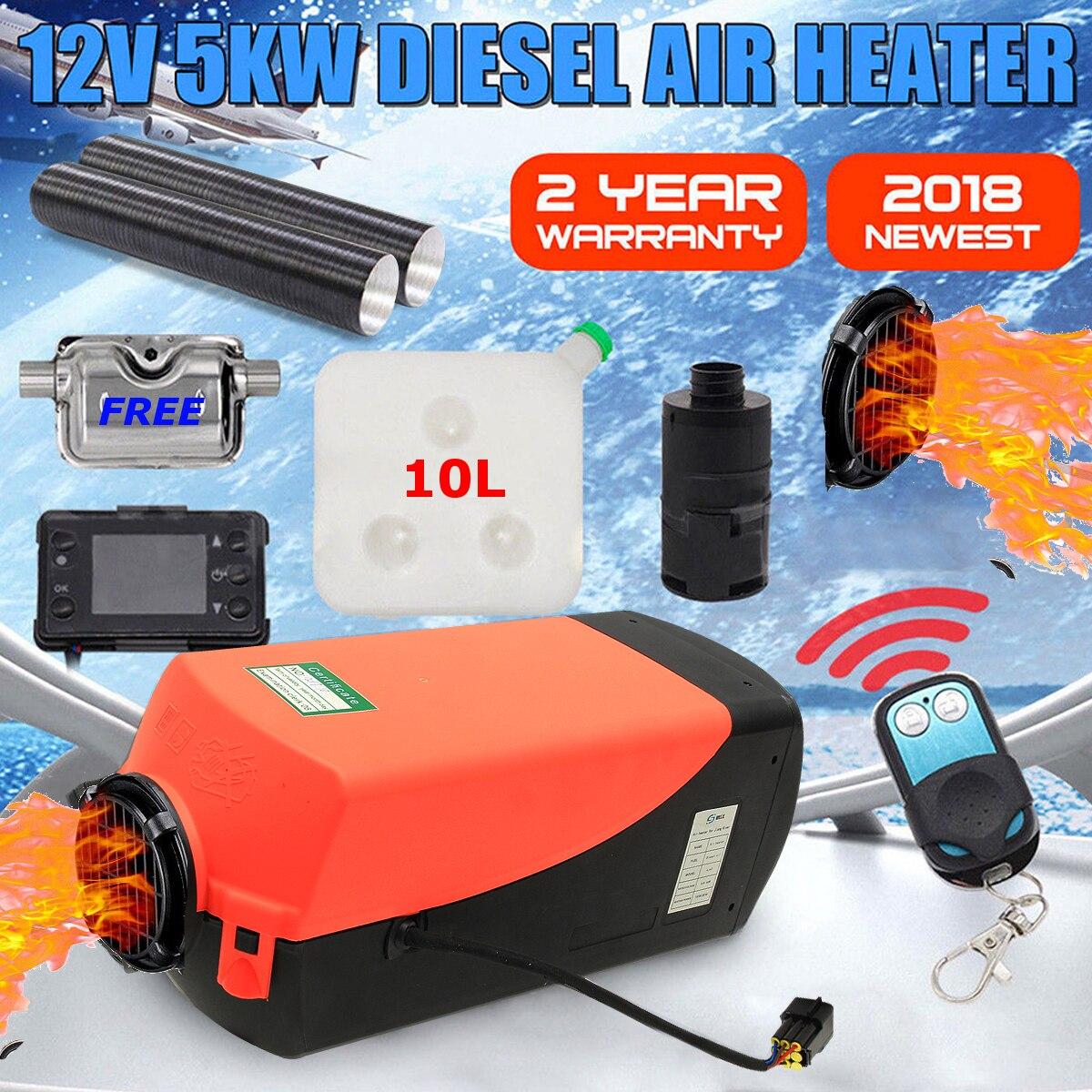 12 V 12 V 5000 W LCD Monitor de aire diesel calentador de combustible solo agujero 5KW para barcos autobús calentador de coche con control remoto control y silenciador para libre