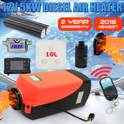 12V 5000W Monitor LCD Aria diesel di Riscaldamento a Combustibile Singolo Foro 5KW Per Barche Bus Auto Riscaldatore Con Telecomando di controllo e Silenziatore Per trasporto