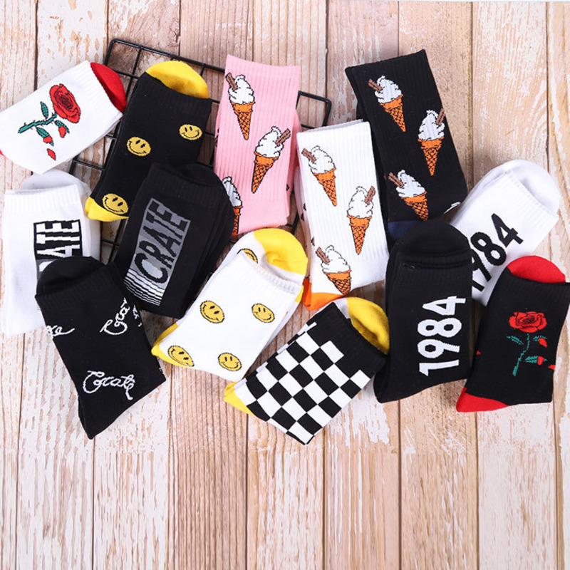 PEONFLY Rose Ice Cream Skate Happy Plaid Smile Men's   Socks   High Quality Soft Leisure   Socks   Male Harajuku Hip Hop Dress