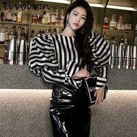 TVVOVVIN 2019 Striped Shirts Women O neck Puff Long Sleeve Vintage Elegant Blouse Female Spring Clothes Vestido E836
