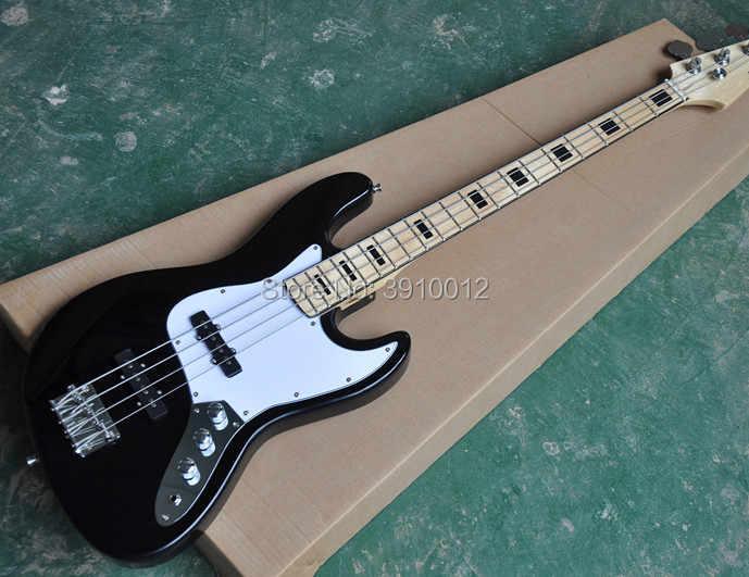 Высококачественный черный корпус для электрической бас-гитары гитара с 2 пикапами гриф хромированное оборудование предложение по вашему запросу