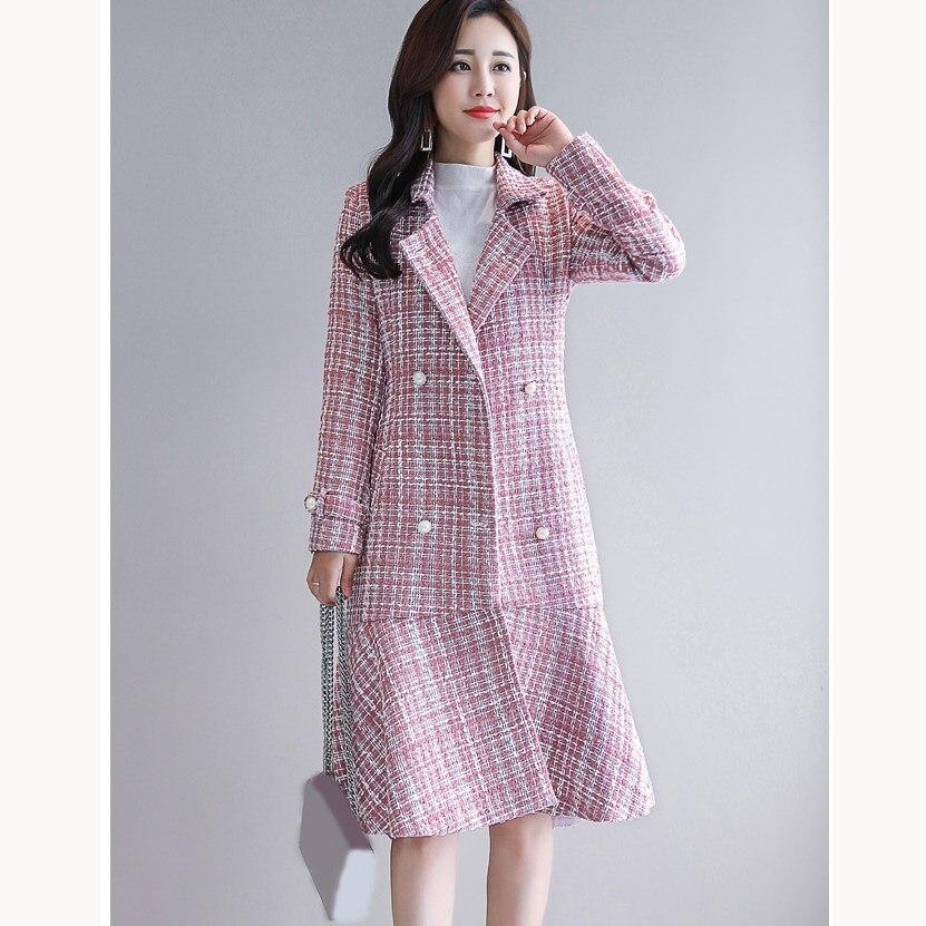 Femme Rayé Hiver Femmes À Imprimé Chaud Rose Épais Mode Manteau Mélanges Laine Volants Longue Plaid Survêtement rqzHxwqYp