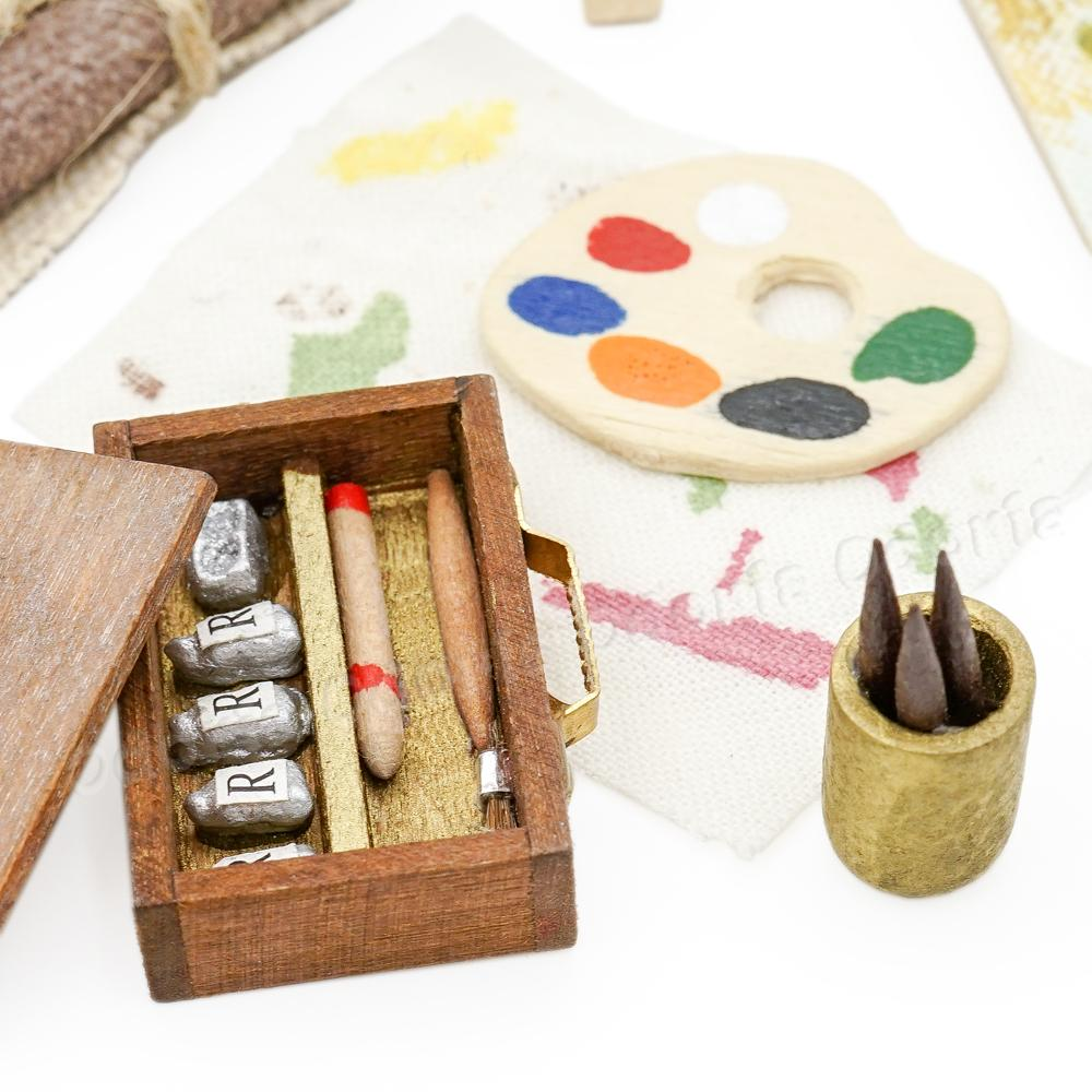 US $9 99 10% OFF|Odoria 1:12 Miniature Easel Painting Tools Set Pigment  Brush Painting Dollhouse Furniture Accessories-in Furniture Toys from Toys  &