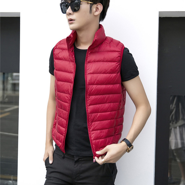 b5edaa3f130ac 2018 New Men Down Vest Christmas Gift Down Jacket Casual Style Autumn  Winter Warm Stand Collar Coats Male Outwear Tank Tops